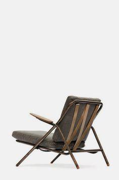 "Hans J. Wegner: ""GE 250"". Rare foldable easy chair with metal frame, oak armrests and shoes. Manufactured by Getama, Gedsted. Link ?"