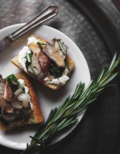 Winter Chard and Mushroom Bruschetta