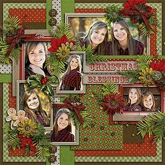 Christmas Blessings Layout. I may have to adjust the embellishments, but I love the layout.
