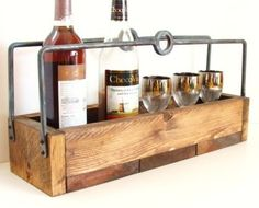 Wine Caddy Rustic Wood Tray Farmhouse Cottage Country Handforged Iron Handles Industrial Chic