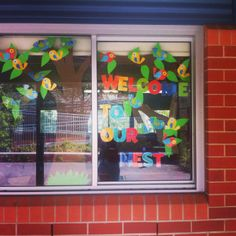 My Classroom window. Boho birds inspired! Welcome to our nest!