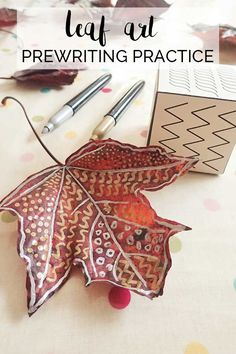 Turn leaf art into a practice on prewriting with this simple fall based activity for toddlers and preschoolers to create beautiful leaf art patterns. (autumn activities for kids) Forest School Activities, Nature Activities, Toddler Activities, Preschool Activities, Autumn Eyfs Activities, Motor Activities, Daily Activities, Toddler Preschool, Outdoor Activities