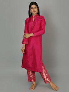 Hot Pink Silk Kurta with Pants - Set of 2
