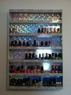 Super easy Nail Polish shelf I made with 3 Foam Boards, Hot Glue, Packing tape and an Exacto Knife.