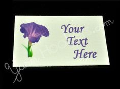Morning Glory - Iron on / Sew In - 100% Cotton Fabric Labels (White), $11