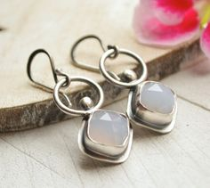 Purple+Chalcedony+Earrings.+Sterling+Silver.+Modern+by+EONDesign,+$90.00