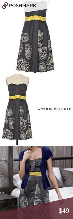 Anthropologie Floreat Natural Sunlight Dress Floreat strapless dress in gray and sunflower yellow. Sweetheart neckline with yellow waistline with gray stitching. Lining has pretty yellow edging. Side zip. Excellent condition. Anthropologie Dresses Strapless