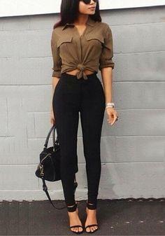 Full view of model in black classic high-waist leggings