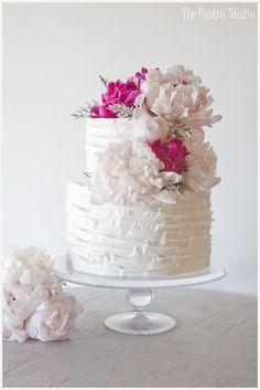 Pink Peonies & Soft Buttercream Wedding Cake