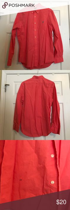 Polo Ralph Lauren button down Clearing closet. Purple button down. Cool material.  Coral in color. Polo by Ralph Lauren Tops Button Down Shirts