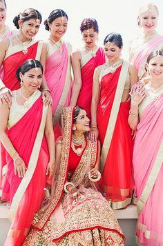 Pink and Red Bridesmaid Sarees | Melanie + Neeraj | Indian Wedding Blog | Think Shaadi