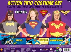 DC Superhero Trio: Batgirl, Supergirl, and Wonder Woman Costume Set -- Three costumes for the crime fighting superhero in your family.  (Ages 3 - 8)