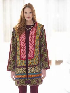 Free knitting pattern for Tapestry Panel Coat in Lion Brand Heartland - This is really spectacular. It looks like it would make a great stash buster. Women's S (M, L, 1X, 2X) Photo of back at pattern site.