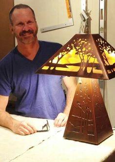James Mattson Coppercraft - James with his signature landscape pattern lamp