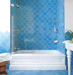 Primula C11 - moroccan cement tile - but in a slightly deeper blue