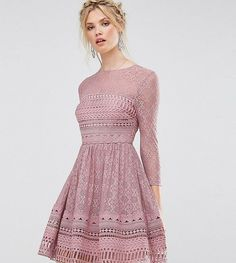9daaf6b2aa ASOS TALL PREMIUM Lace Skater Dress - Multi Light Dress