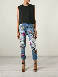 Pair distressed and embroidered denim with heels and a simple black top. Let Daily Dress Me help you find the perfect outfit for whatever the weather! dailydressme.com/