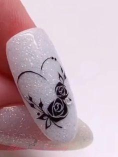 Gel Nail Art Designs, Nail Art Designs Videos, Nail Art Videos, Rose Nail Art, Rose Nails, Flower Nail Art, Purple Nail Art, Gel Nails, Nail Art Stripes