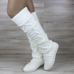 Купить Сапоги женские белые демисезонные вязаные в интернет магазине на Ярмарке Мастеров