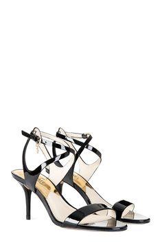 Michael Kors Kaylee Mid Heel Sandals Black » Men's Designer Clothing & Brands Mid Heel Sandals, Strappy Sandals, Designer Clothes For Men, Designer Clothing, Circle Fashion, Fab Shoes, Black Fabric, Black Men, Patent Leather