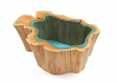 Wood Tables Embedded with Glass Rivers by Greg Klassen05