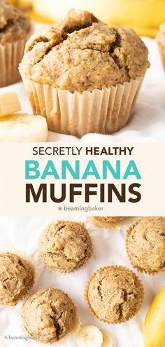 Healthy Banana Muffins Recipe: the BEST healthy banana muffins—secretly healthy, soft 'n dense banana bread-style muffins with lightly sweet, comforting banana flavor. Made with healthy, whole ingredients. #HealthyMuffins #Banana #Muffins #BananaMuffins   Recipe at BeamingBaker.com Healthy Banana Muffins, Banana Bread Muffins, Chocolate Chip Banana Bread, Vegan Gluten Free Desserts, Coconut Desserts, Baker Recipes, Muffin Recipes, Bread Recipes, Healthy Cake