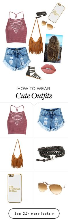 """cute beach outfit"" by brichiodo on Polyvore featuring Glamorous, Tom Ford, BaubleBar and Lime Crime"