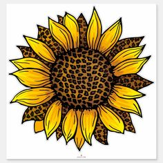 Leopard Sunflower Sticker #AD , #ad, #Sticker#created#Sunflower#Shop Design Your Own Stickers, Custom Stickers, Custom Vinyl, Yellow Sunflower, Sunflower Png, Watercolor Sunflower, Sunflower Clipart, Sunflower Quotes, Sunflower Mandala