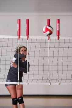 Quad Blocker is to use for hitting placement drills or coverage tool in blocking drills.   It consists of 4 separate blocking units that secure to the net for controlled block.