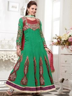 Green Georgette Anarkali Suit With Zari And Resham Embroidery Work www.saree.com