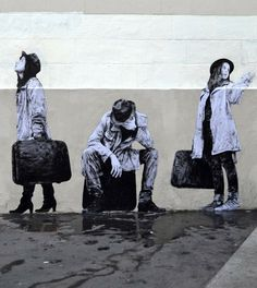 """""""The Departure"""" New Piece By Levalet on the streets of Paris, France.3"""
