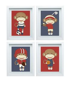 Monkey Nursery Decor Basketball Golf Football Soccer Wall Decor Sport Wall Decor Red Blue Four-8X10 Prints Boy Room Decor Christmas Gift