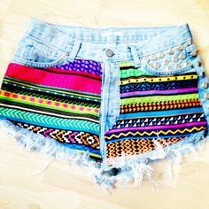 Vintage Studded & Hand Printed Denim Shorts by vs4lovematinee