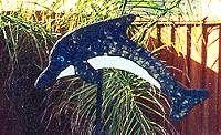 Dolphin Mosaic tile yard art / garden sculpture - Dolphins by Cindy