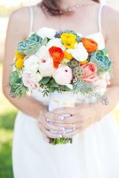 bouquet // yellow, orange, succulents // Art With Nature Floral Design