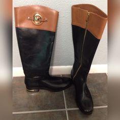 Michael Kors Stockard black mocha riding boots Black mocha brown riding boots. Michael Kors size 8. Wore one time to run a errand. Michael Kors Shoes Winter & Rain Boots
