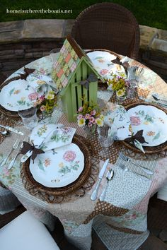 Dining with Butterflies, inspired from An Invitation to the Garden. Lenox Butterfly Meadow Dragonfly and Butterfly Box as a centerpiece.
