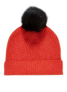 Cashmere Rib   Sheepskin Pompom Hat Pom Pom Hat 73fcdefbde32
