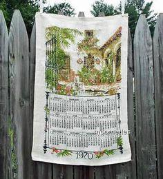 #Vintage #1970 Linen Calendar #KitchenWall Hanging Tea Towel Garden Courtyard Home Decor New Unused