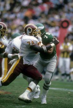 WASHINGTON, D.C. - SEPTEMBER 7: Dexter Manley #72 of the Washington Redskins in action against Joe Conwell #79 of the Philadelphia Eagles during an NFL football game at RFK Stadium September 7, 1986 in Washington, D.C