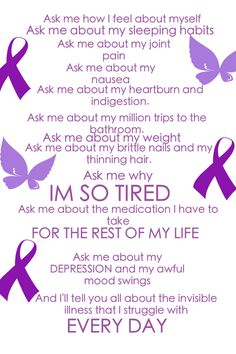 Just re did this one. Looks much better!! Thyroid disease. Hypothyroidism. Invisible illness. Chronic illness. Silent illness. Thyroid disease awareness. Awareness ribbon. Support ribbon. Butterfly. Advocacy. Advocate. Thyroid cancer. Invisible disease. But you don't LOOK sick. Spoonie. Spoonies unite! I wear purple for myself. Thyroid disease signs and symptoms. I HATE my thyroid. The feeling is mutual apparently. Boo!