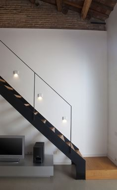 Steel stairs, timber treads and glass railing - for the storey side of the house. Steel Stairs Design, Modern Stair Railing, Stair Handrail, Modern Stairs, Staircase Design, Railings, Glass Stairs, Metal Stairs, Glass Railing