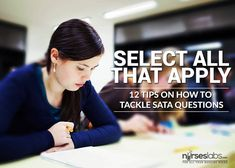 NCLEX Select all that apply or SATA questions are dreaded by examinees. Here are some tried and true strategies and tips on how to successfully answer SATA questions. Nursing Exam, Nursing School Tips, Nursing Tips, Nursing Notes, Nclex Rn Practice Questions, Nclex Questions, Test Taking Skills, Nursing Information, Test Exam