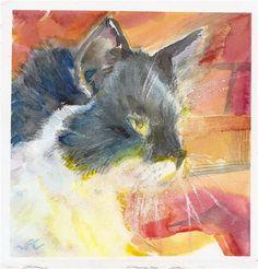 "Daily+Paintworks+-+""Fireside+Cat""+-+Original+Fine+Art+for+Sale+-+©+jean+krueger"