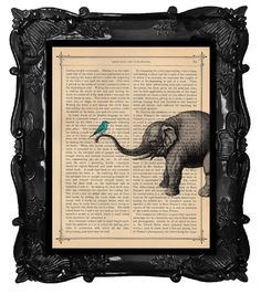 Elephant with birds home decor, elephant art print, housewares, elephant dictionary art, antique book page, ELEPHANT print dictionary paper