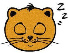 Cat sleepy face machine embroidery design. Machine embroidery design. www.embroideres.com