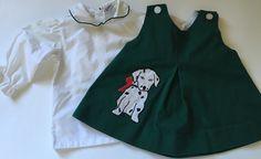 Vintage 80s Samara Dalmatian Dog Green Dress White Blouse Baby Girl 12 Months | eBay #vintage #vintagebabyclothes #1980s #80s #vintage