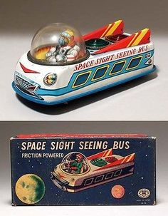 Vintage Toy Japan Masudaya Tin (SPACE SIGHT SEEING ) with box Made in Japan #44