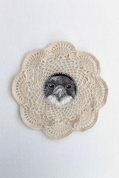 Crochet Bird Art by Creative Carmelina Crochet Birds, Crochet Stars, Crochet Flower Patterns, Crochet Doilies, Crochet Flowers, Crochet Garland, Crochet Animals, Crochet Home, Knit Crochet