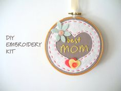 Mothers day embroidery kitDYI kids embroidery by pitsispopis, $22.00